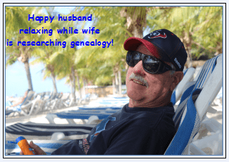 "humorous photo showing a genealogist's ""happy husband"""