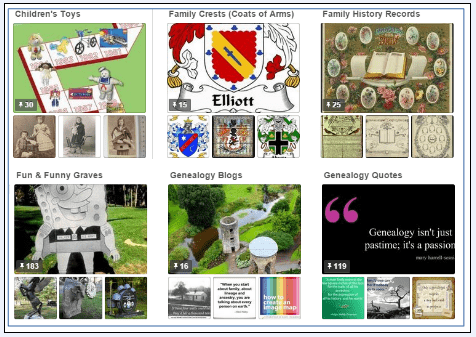 graphic showing various genealogy-related Pinterest boards