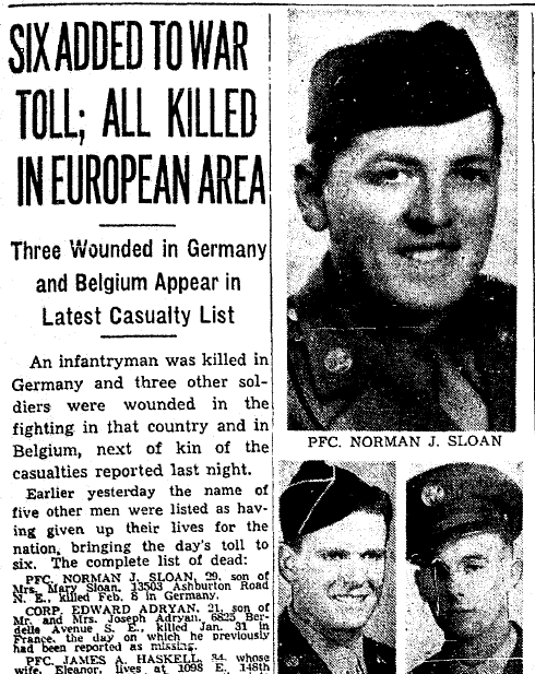WWII casualty list, Plain Dealer newspaper article 22 February 1945