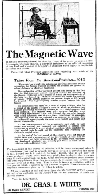 "ad for the ""magnetic wave"" medical device, Riverside Independent Enterprise newspaper advertisement 16 January 1915"