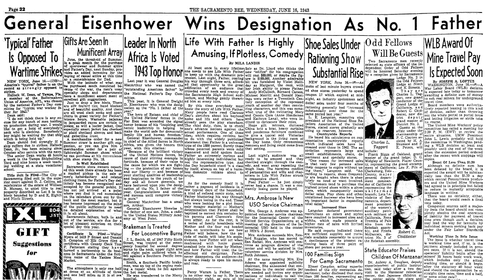 General Eisenhower Wins Designation as No. 1 Father, Sacramento Bee newspaper article 16 June 1943