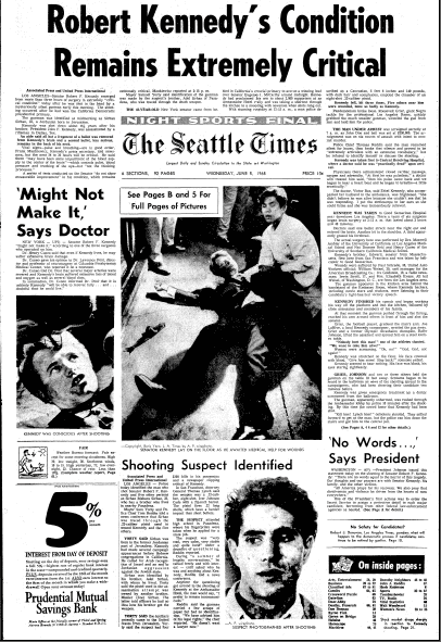 article about the assassination of Senator Robert F. Kennedy, Seattle Times newspaper article 5 June 1968