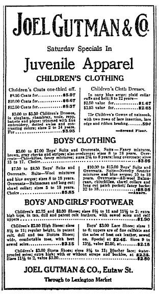 ad for children's clothing from Joel Gutman and Company, Sun newspaper advertisement 9 January 1915