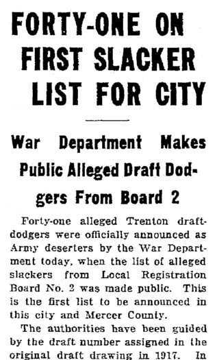 article about WWI draft dodgers, Trenton Evening Times newspaper article 25 May 1921