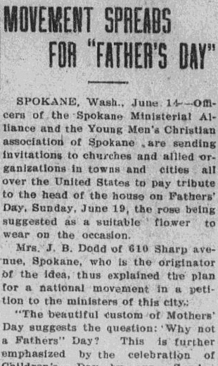 "Movement Spreads for ""Father's Day,"" Tucson Daily Citizen newspaper article 14 June 1910"