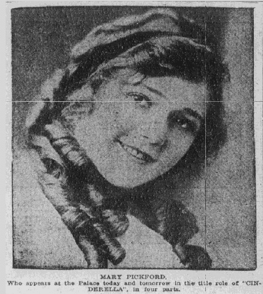 photo of Mary Pickford, Tulsa World newspaper article 7 February 1915
