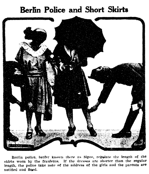 Berlin Police and Short Skirts, Cobb County Times newspaper article 16 August 1921