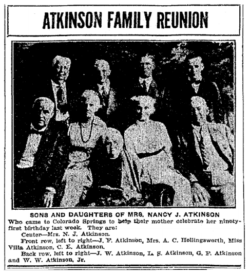photo of the Atkinson family reunion, Colorado Springs Gazette newspaper article 10 September 1922