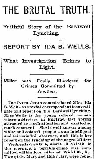 article about the lynching of Sea J. Miller, Daily Inter Ocean newspaper article 19 July 1893