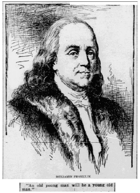 article about Benjamin Franklin, Daily Inter Ocean newspaper article 20 October 1895
