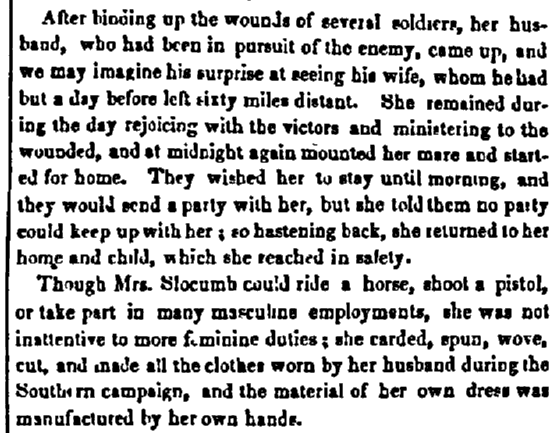article about Mary Hooks Slocumb, Daily National Intelligencer newspaper article 19 June 1851