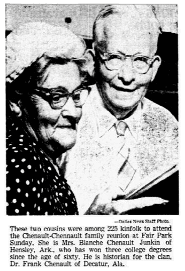 photo from the Chenault family reunion, Dallas Morning News newspaper article 1 September 1952