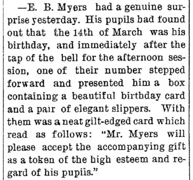birthday notice for E. B. Myers, Elkhart Daily Review newspaper article 15 March 1883