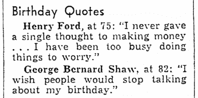 article about birthdays, Evansville Courier and Press newspaper article 31 July 1938