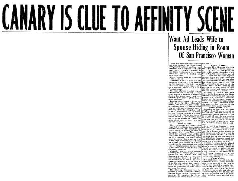 article about the Alexander scandal, Evening News newspaper article 18 July 1921