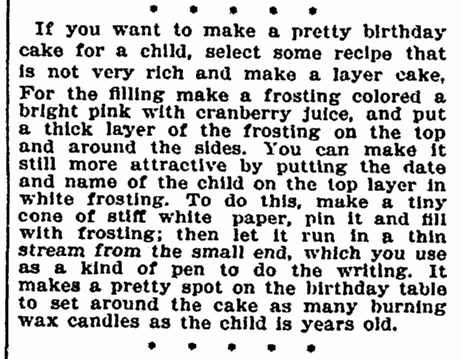 article about birthday cakes, Evening Star newspaper article 2 February 1895