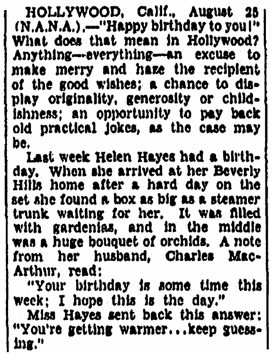 article about birthdays in Hollywood, Evening Star newspaper article 26 August 1934