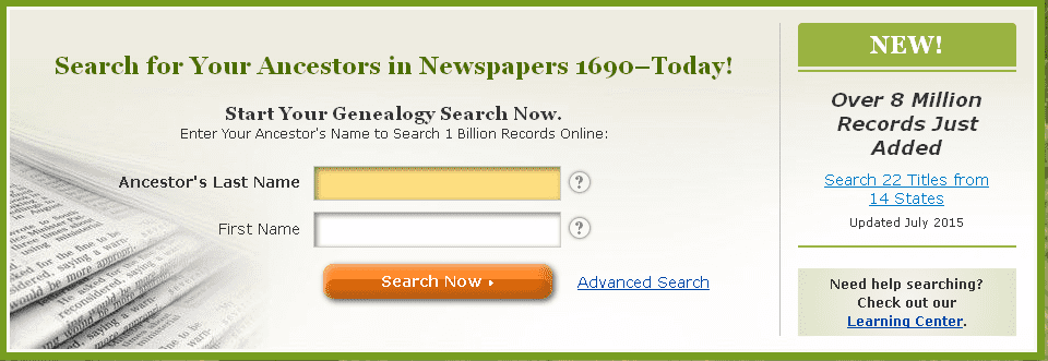 screenshot of GenealogyBank's home page showing the announcement that 8 million genealogy records were added in July