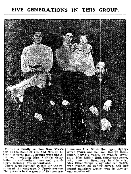 photo of the Smith family reunion, Grand Rapids Press newspaper article 12 January 1907