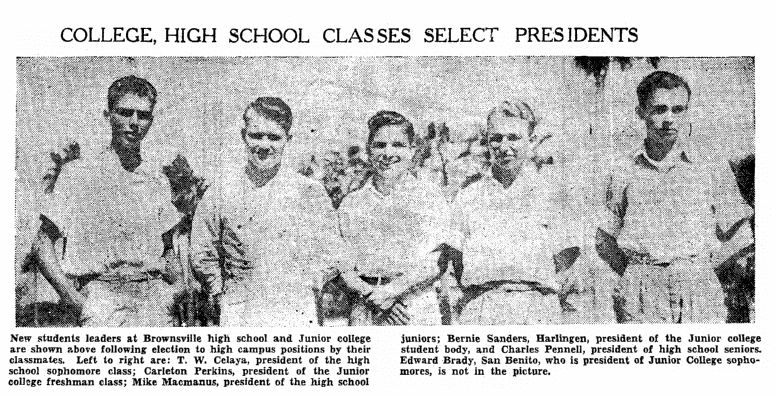 photo of school class presidents, Heraldo de Brownsville newspaper article 6 October 1939