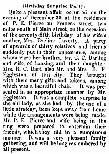 birthday notice for Eveline Laverty, Jackson Citizen Patriot newspaper article 3 January 1880