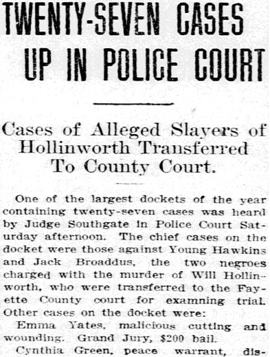 Twenty-Seven Cases Up in Police Court, Lexington Herald newspaper article 6 July 1913