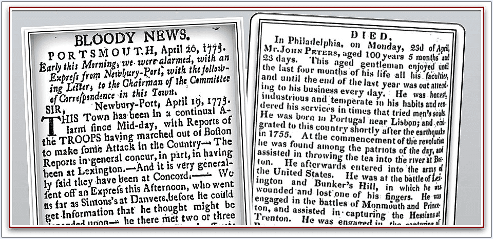newspaper articles about the American Revolutionary War from GenealogyBank's archives