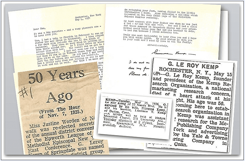 montage of family history papers from the Kemp family