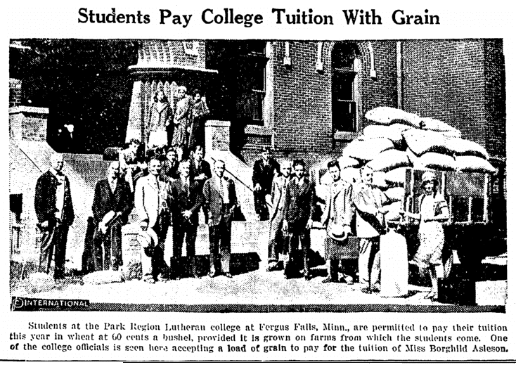 photo of student paying tuition with grain at Park Region Lutheran College, National Labor Tribune newspaper article 24 September 1931