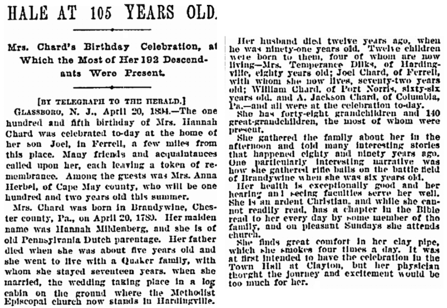 birthday notice for Hannah Chard, New York Herald newspaper article 14 April 1894