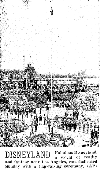 photo from the opening ceremony for Disneyland, Oregonian newspaper article 18 July 1955