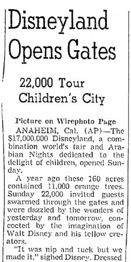 Disneyland Opens Gates, Oregonian newspaper article 18 July 1955