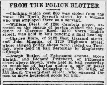 police blotter, Philadelphia Inquirer newspaper article 10 May 1900