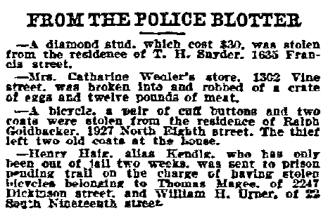 police blotter, Philadelphia Inquirer newspaper article 12 May 1900