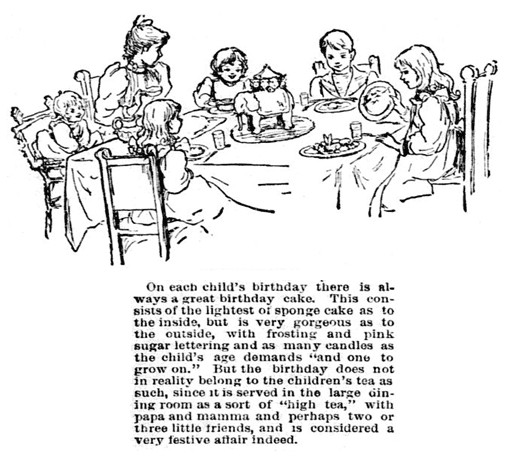 article about birthday cakes and parties, Philadelphia Inquirer newspaper article 6 November 1892