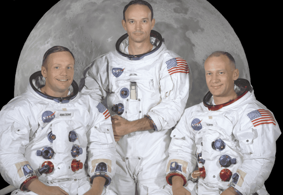 photo: portrait of the prime crew of the Apollo 11 lunar landing mission. From left to right they are: Commander, Neil A. Armstrong; Command Module Pilot, Michael Collins; and Lunar Module Pilot, Edwin E. Aldrin Jr.