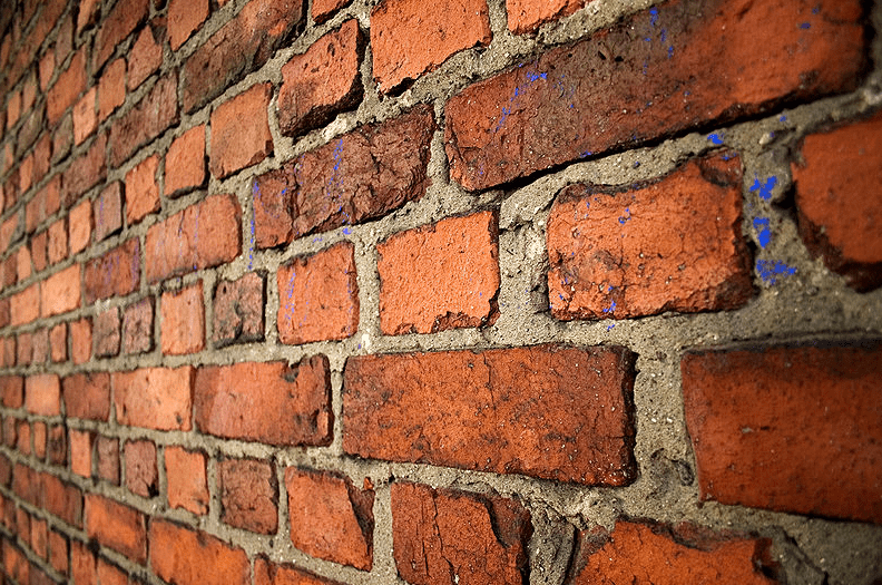 photo of a brick wall in English cross bon pattern