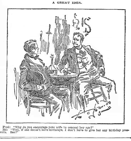 cartoon about birthday gifts, Plain Dealer newspaper cartoon 19 April 1896