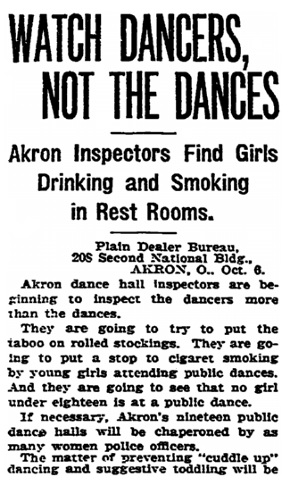 Watch Dancers, Not the Dances, Plain Dealer newspaper article 7 October 1921