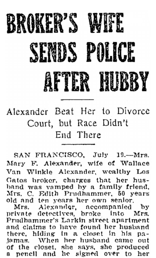 Broker's Wife Sends Police after Hubby, Salt Lake Telegram newspaper article 19 July 1921