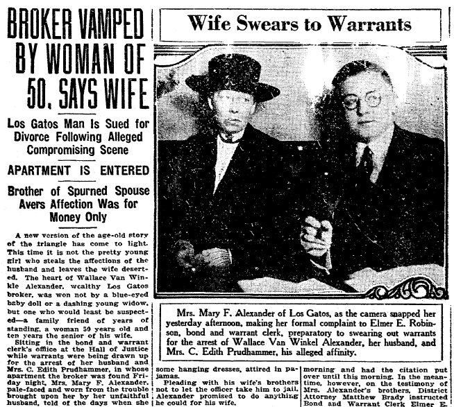 Broker Vamped by Woman of 50, Says Wife [Mary Alexander], San Francisco Chronicle newspaper article 19 July 1921