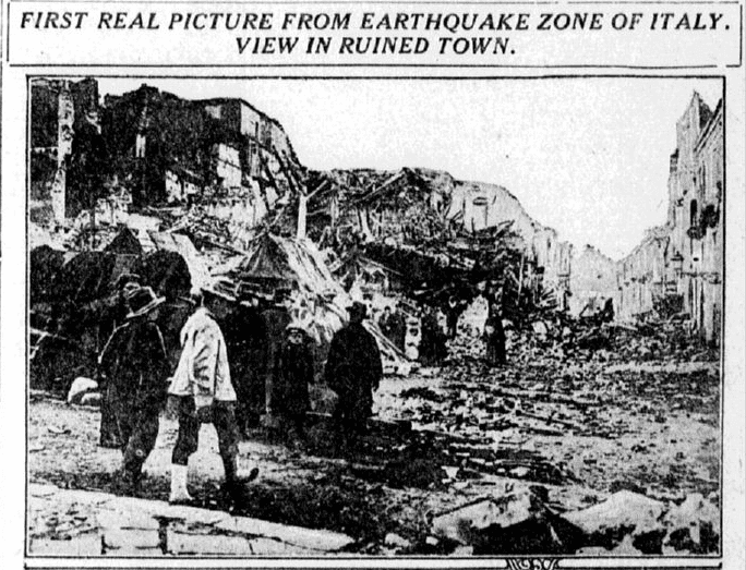 photo of an earthquake in Italy, San Jose Mercury News newspaper article 6 February 1915