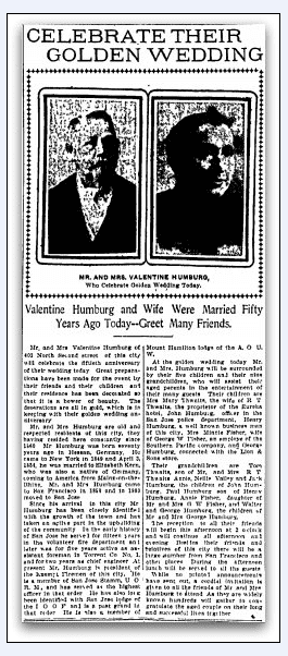 article about the Humburgs celebrating their 50th wedding anniversary, San Jose Mercury News newspaper article 3 April 1904