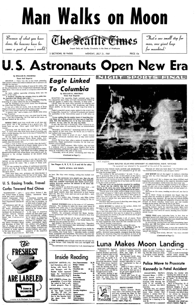 front page coverage of Apollo 11's moon landing, Seattle Daily Times newspaper 21 July 1969