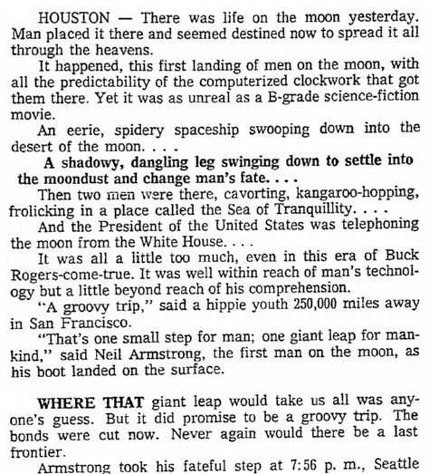 article about Apollo 11's landing on the moon, Seattle Daily Times newspaper article 21 July 1969
