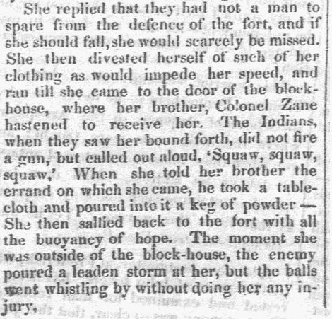 article about Elizabeth Zane, Semi-weekly Eagle newspaper article 11 October 1849