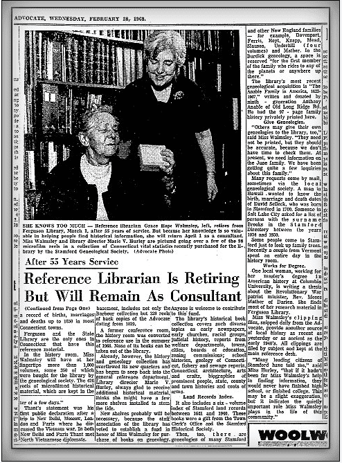 article about librarian Grace Hope Walmsley retiring, Stamford Advocate newspaper article 28 February 1968