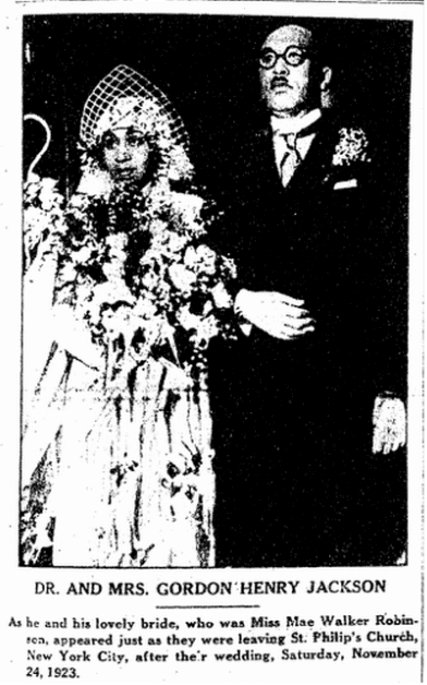 wedding announcement for Mae Robinson and Gordon Jackson, Broad Ax newspaper article 8 March 1924