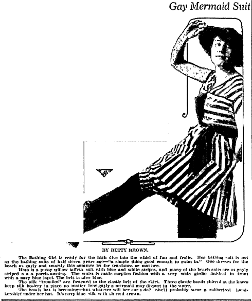 bathing suit ad, Charlotte Observer newspaper advertisement 11 July 1916