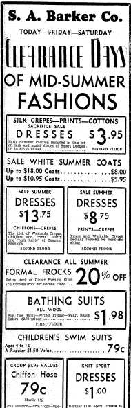ad for summer clothes, Daily Illinois State Journal newspaper article 20 July 1933